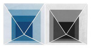Etudes pour LA MÉTHODE, série de 96 variations sur la série Homage to the Square de Josef Albers, 2019 cyanotype et palladiotype - collages en pièces uniques - 32,5 x 32,5 cm