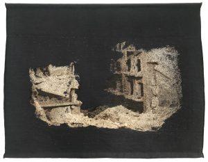 Thibault Brunet, série Boîte noire, tapisserie #1, 2020, courtesy Galerie Binome, édition de 5 (+2EA) – 123 × 158 cm tissage mécanique par l'atelier Néolice - Pixel Point sur métier Jacquard en fils de laine - 7 couleurs